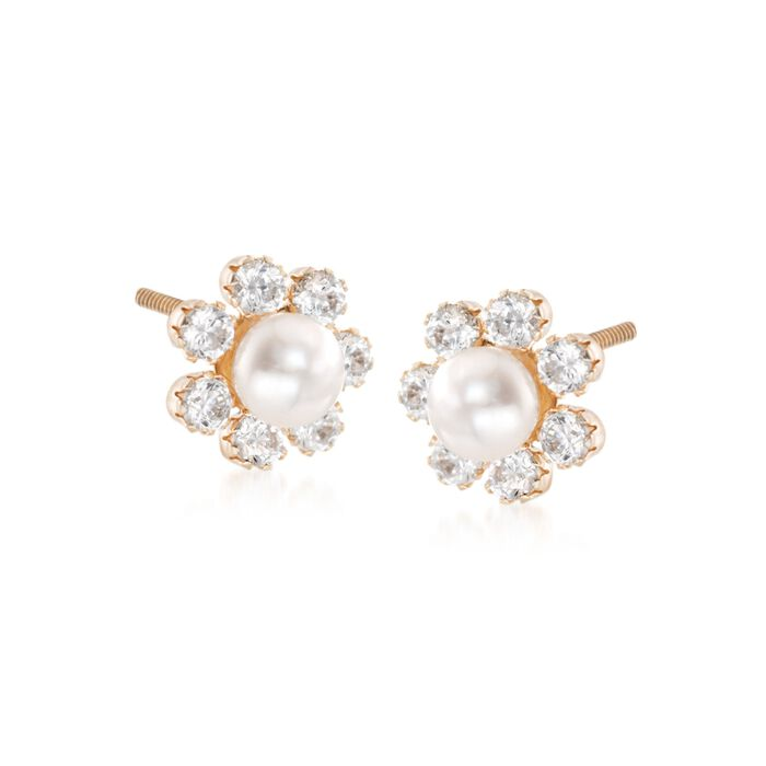 Child's 2mm Cultured Pearl Flower Earrings with .15 ct. t.w. CZs in 14kt Yellow Gold , , default