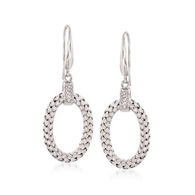 "Charles Garnier ""Ravello"" .10 ct. t.w. CZ Oval Drop Earrings in Sterling Silver. 1 7/8"", , default"