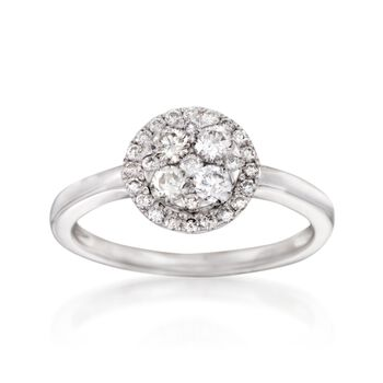 .56 ct. t.w. Diamond Cluster Ring in 18kt White Gold, , default