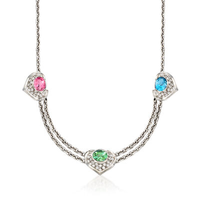 C. 2000 Vintage 7.00 ct. wt. Multi-Stone and 1.05 ct. t.w. Diamond Heart Station Necklace in 18kt White Gold, , default