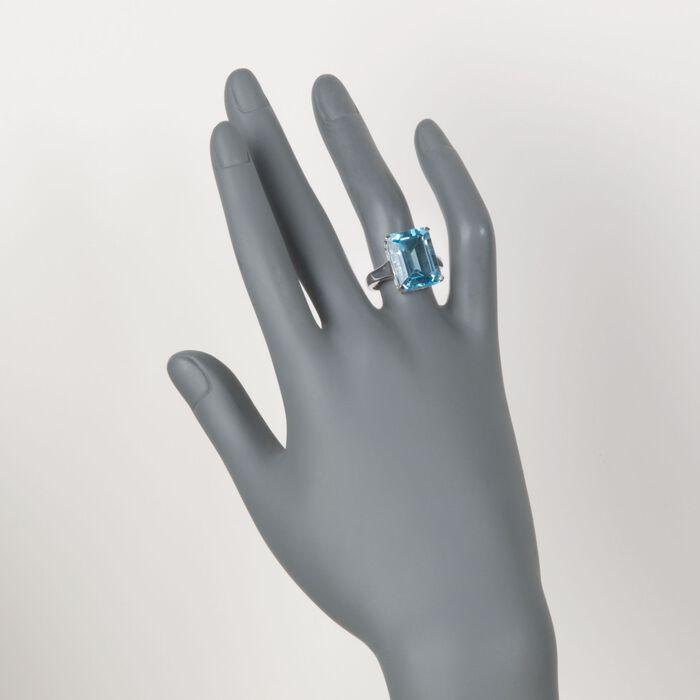 14.00 Carat Blue Topaz Ring in Sterling Silver