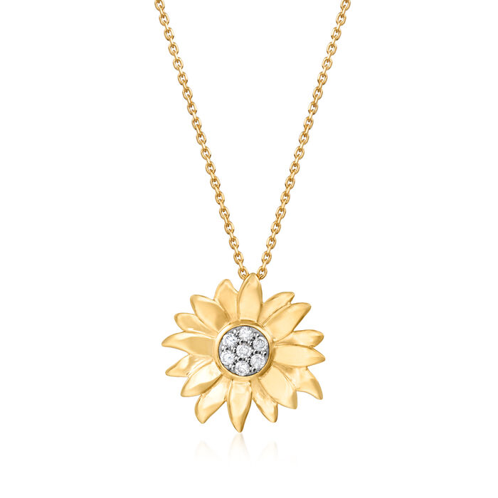 .15 ct. t.w. Diamond Sunflower Pendant Necklace in 18kt Gold Over Sterling