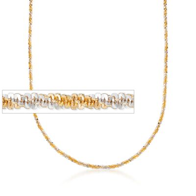 Italian 2.5mm Two-Tone Sterling Silver Crisscross Chain Necklace, , default