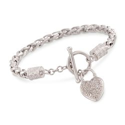 ".10 ct. t.w. Diamond Heart Charm Bracelet in Sterling Silver. 7.5"", , default"