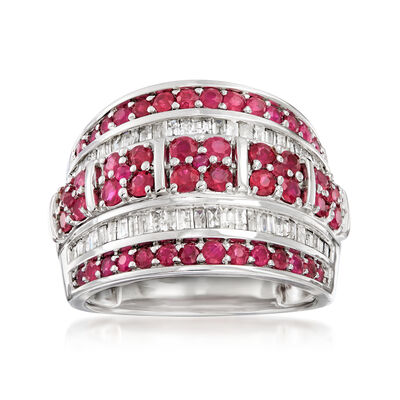 1.40 ct. t.w. Ruby and .60 ct. t.w. Diamond Multi-Row Ring in Sterling Silver, , default