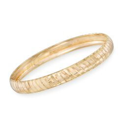 14kt Gold Over Sterling Silver Diamond-Cut Ribbed Bangle Bracelet, , default