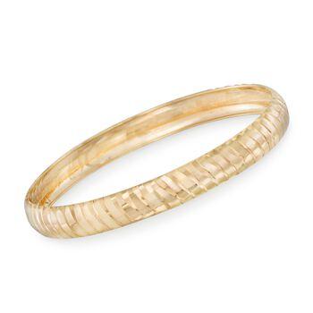 """14kt Gold Over Sterling Silver Diamond-Cut Ribbed Bangle Bracelet. 7.5"""", , default"""