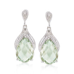 8.25 ct. t.w. Green Prasiolite Drop Earrings in Sterling Silver, , default