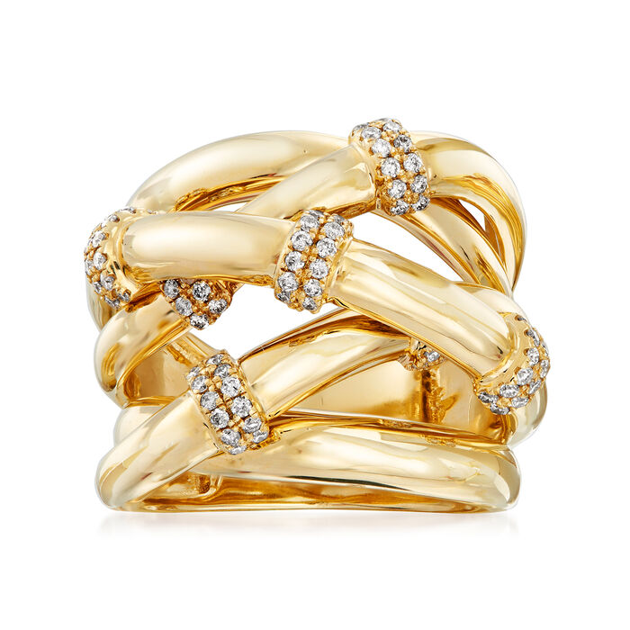 .50 ct. t.w. Diamond Station Crisscross Ring in 14kt Yellow Gold