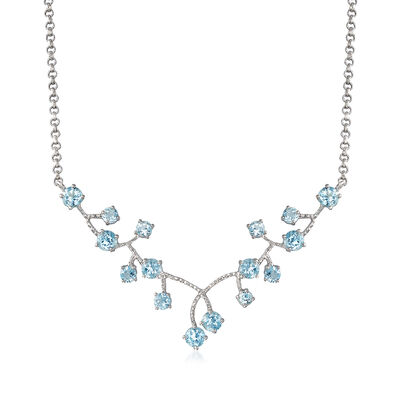 6.90 ct. t.w. Blue Topaz Cluster Necklace in Sterling Silver, , default