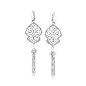 Sterling Silver Milgrain Tassel Drop Earrings, , default