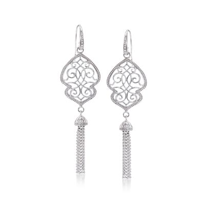 Sterling Silver Milgrain Tassel Drop Earrings, , default