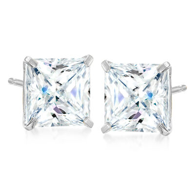 6.00 ct. t.w. Princess-Cut CZ Stud Earrings in Sterling Silver