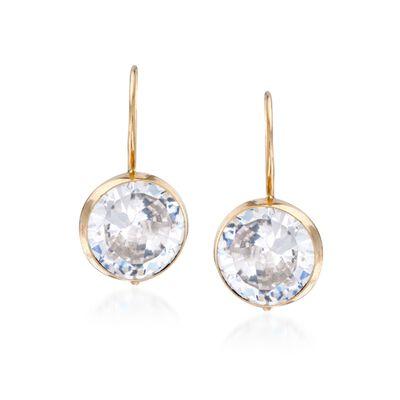 4.00 ct. t.w. Bezel-Set CZ Drop Earrings in 14kt Yellow Gold, , default