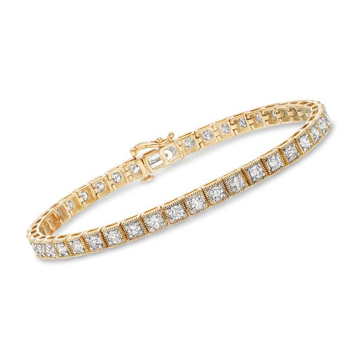 """3.45 ct. t.w. Diamond Bracelet in 14kt Yellow Gold. 8"""""""