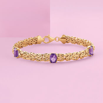 "2.40 ct. t.w. Amethyst Station Byzantine Bracelet in 14kt Yellow Gold. 8"", , default"