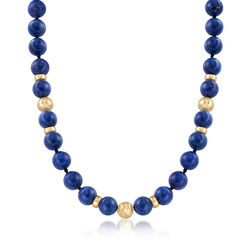 C. 1980 Vintage Lapis and 14kt Yellow Gold Beaded Necklace, , default