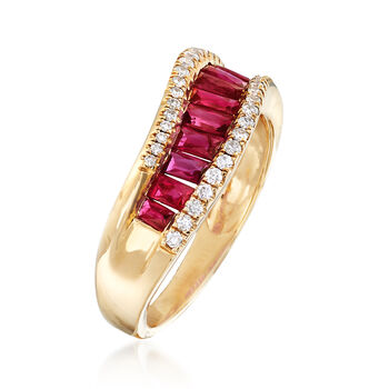 1.30 ct. t.w. Ruby and .22 ct. t.w. Diamond Ring in 18kt Yellow Gold, , default