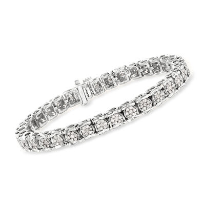 3.00 ct. t.w. Diamond Cluster Bracelet in Sterling Silver, , default