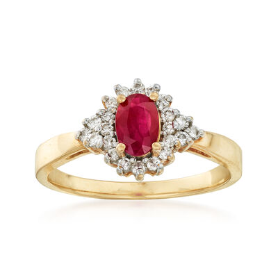 C. 1990 Vintage .50 Carat Ruby and .25 ct. t.w. Diamond Ring in 14kt Yellow Gold, , default