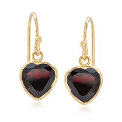 4.40 ct. t.w. Bezel-Set Garnet Heart Drop Earrings in 18kt Gold Over Sterling , , default