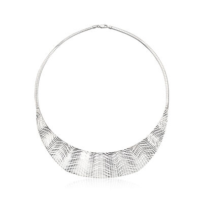 Italian Sterling Silver Wave-Patterned Cleopatra Necklace, , default