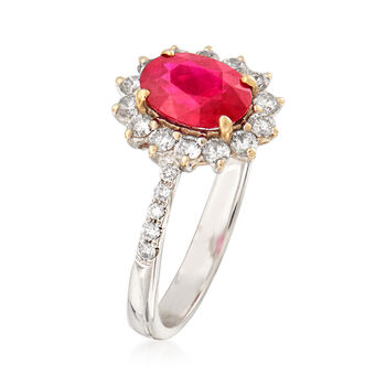 1.33 Carat Ruby and .45 ct. t.w. Diamond Ring in 18kt White Gold. Size 6