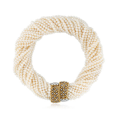 C. 1980 Vintage 3.5-4mm Cultured Pearl and .65 ct. t.w. Diamond Multi-Strand Necklace in 18kt Yellow Gold, , default