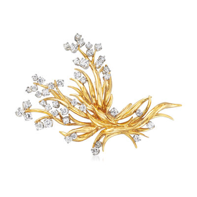 C. 1990 Vintage 2.40 ct. t.w. Diamond Burst Pin in Platinum and 18kt Yellow Gold, , default