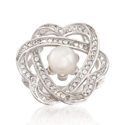 6.5-7mm Cultured Pearl and .40 ct. t.w. White Topaz Interlocking Heart Ring in Sterling Silver, , default
