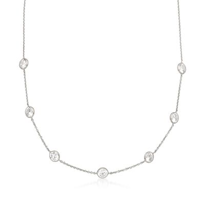 3.50 ct. t.w. Bezel-Set CZ Station Necklace in 14kt White Gold, , default