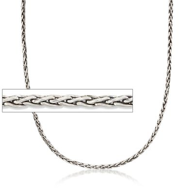 3mm Sterling Silver Wheat Chain Necklace, , default