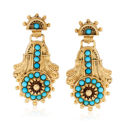C. 1950 Vintage Turquoise Drop Earrings in 14kt Yellow Gold, , default