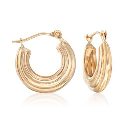 14kt Yellow Gold Huggie Hoop Earrings , , default