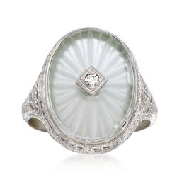 C. 1950 Vintage Rock Crystal Ring With Diamond Accents in 14kt White Gold. Size 5.75, , default