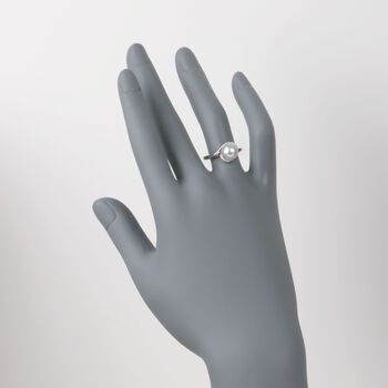 Mikimoto 8mm Akoya Pearl Ring with Diamonds in 18kt White Gold. Size 7