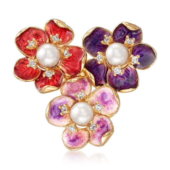 Italian Cultured Pearl and .10 ct. t.w. CZ Flower Pin in 18kt Gold Over Sterling, , default