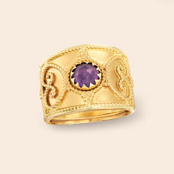 Italian 1.20 Carat Amethyst Filigree Ring in 14kt Yellow Gold