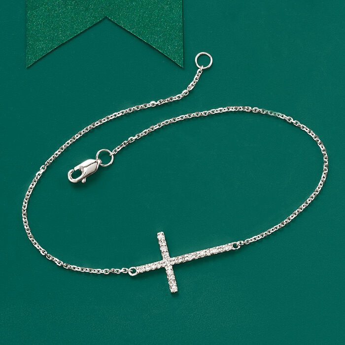14kt White Gold Sideways Cross Bracelet with Diamonds