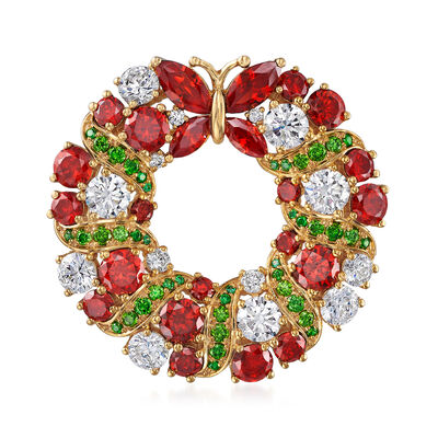 8.00 ct. t.w. Simulated Ruby, 5.50 ct. t.w. CZ and .90 ct. t.w. Simulated Emerald Christmas Wreath Pin in 18kt Gold Over Sterling, , default