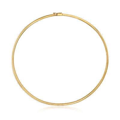 Italian 4mm 14kt Yellow Gold Omega Necklace