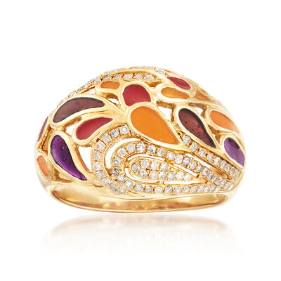 .35 ct. t.w. Diamond and Multicolored Enamel Open-Space Ring in 14kt Yellow Gold