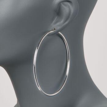 """3mm Sterling Silver Hoop Earrings. 3 1/4"""", , default"""