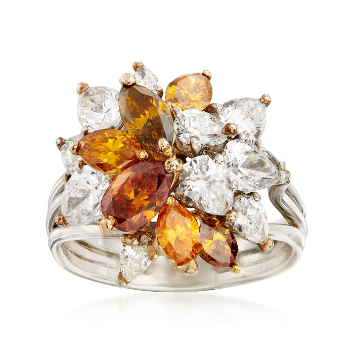 C. 1990 Vintage 4.50 ct. t.w. Multicolored Diamond Cluster Ring in Platinum and 18kt Yellow Gold