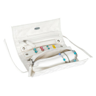 """Mele & Co. """"Whitley"""" White Faux Leather Travel Jewelry Roll, , default"""