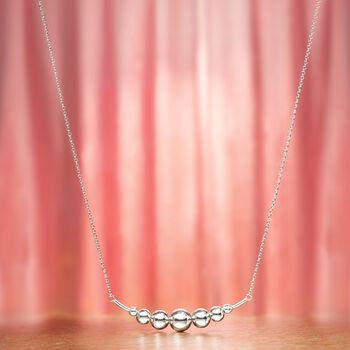 "Italian Sterling Silver Graduated Ball Bar Necklace. 20"", , default"