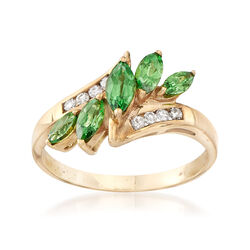 C. 1990 Vintage .90 ct. t.w. Tsavorite and .15 ct. t.w. Ring in 10kt Yellow Gold , , default
