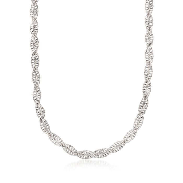 """Italian Sterling Silver Twisted Curb-Link Necklace. 18"""", , default"""
