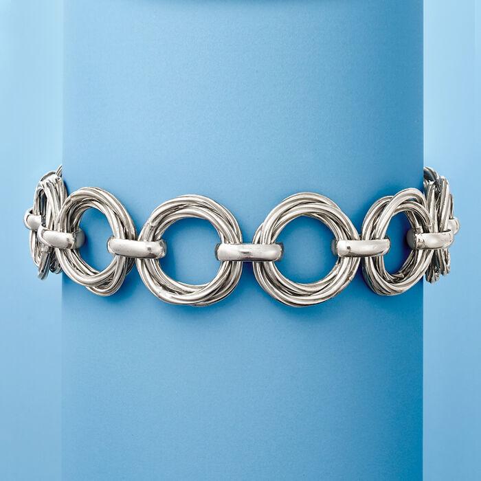 Italian Sterling Silver Interlocking Circle-Link Bracelet
