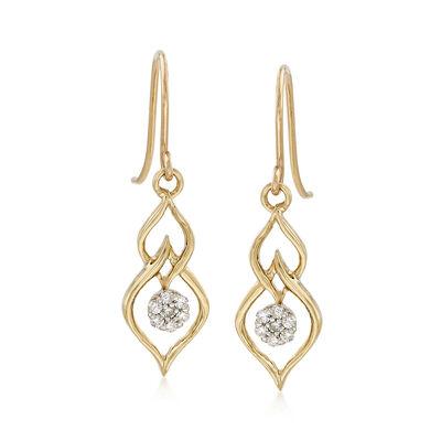 .14 ct. t.w. Diamond Openwork  Drop Earrings in 14kt Yellow Gold, , default
